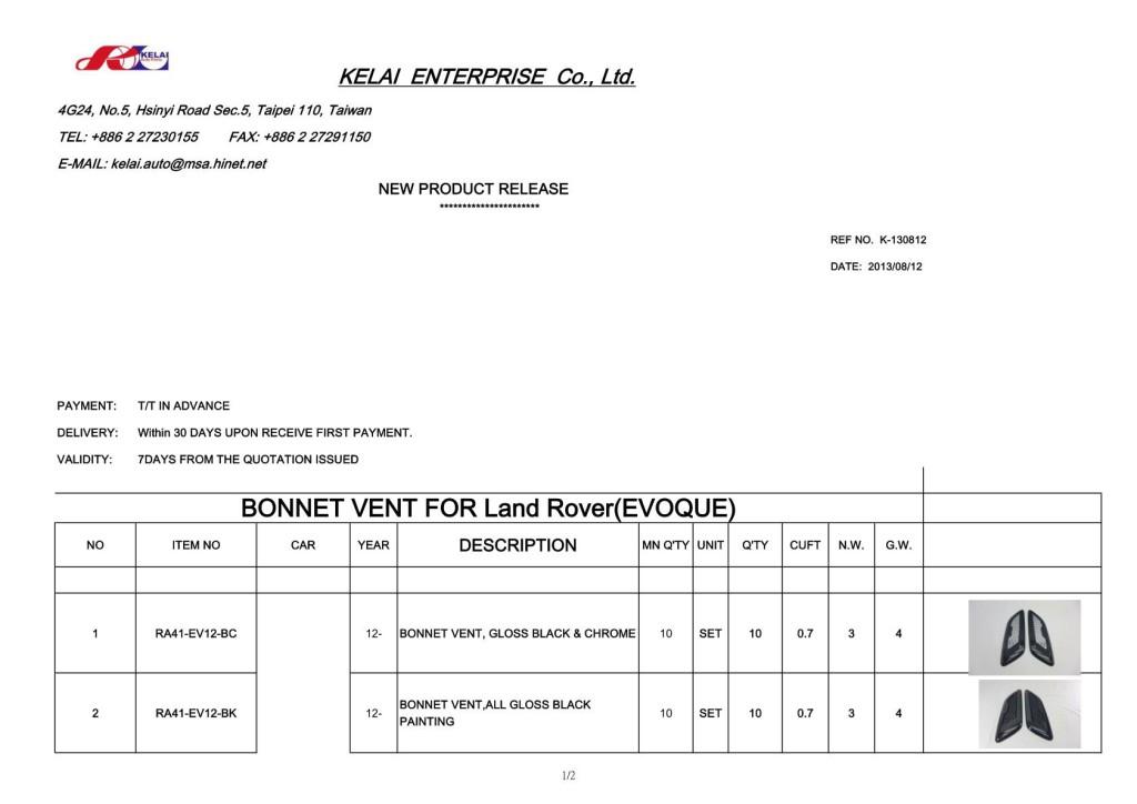 KELAI 130812 NEW PRODUCT RELEASE(EVOQUE)_1